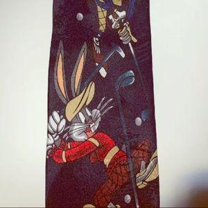 Vintage 1996 Looney Tunes Mania Golf Theme Necktie